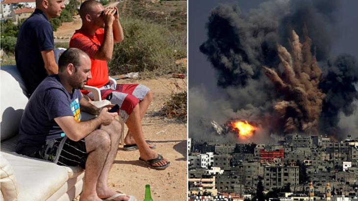 Strefa Gazy Picture: Izrael Zbombarduje Palestyńczyków W Strefie Gazy. Żydzi