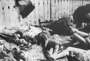Zwłoki polskich mieszkańców wsi Lipniki w powiecie kostopolskim na Wołyniu. 26 marca 1943 roku Ukraińcy z oddziałów UPA zamordowali tam 182 osoby.